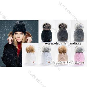 Damenmütze mit Steinen (uni) WOOLK POLAND PV417027