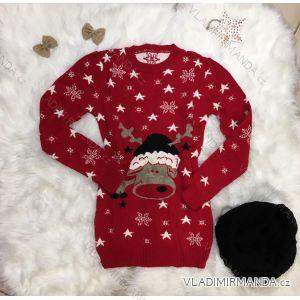 Pullover warm gestrickt mit Rentiermuster Damen lang (uni sl) ITALIENISCHE MODA IMT18957