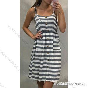 Damen Sommer Streifen Kleid Knöpfe (uni sm) ITALIENISCHER MODUS IM919618